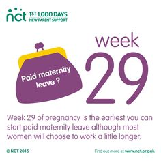 29 weeks pregnant. When you are 29 weeks pregnant, your baby's movements can feel stronger and pregnancy symptoms may continue. This is the earliest you can begin paid maternity leave.