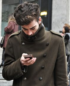 peacoat and iphone