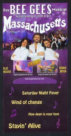 MASSACHUSETTS - THE ITALIAN BEE GEES MUSICAL - 2016 - ORIGINAL FLYER