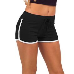 Casual Loose Cotton Contrast Binding Side Split Elastic Waist Short Femme