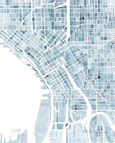 "bourgeoisbohemianism: ""(via 10x8 Seattle Washington Blueprint City map watercolor wall art Print) """