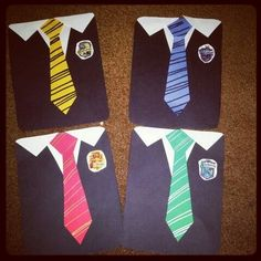 Hogwarts themed door decs! Use half a black sheet of paper, make the tie, and use Hogwarts house stickers