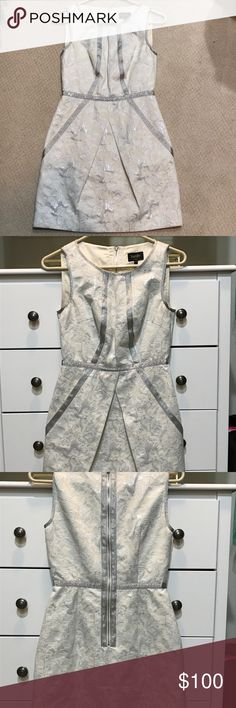 Laundry ivory dress Ivory dress with silver piping - perfect for a wedding shower, rehearsal dinner or night out. Worn once, excellent condition. Laundry By Shelli Segal Dresses Mini