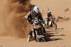 Eduardo Alan of Argentina gets stuck in the sand during stage five from Chilechito to Fiambala