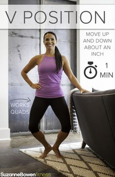 """This Classic Barre Thigh Workout targets mainly the quads, the major muscle group of the legs. There are advanced modifications to """"Make it Fire"""" taken from our BarreAmped Fire Classes! Barre Moves, Pilates Barre, Pilates Workout, Barre Exercises At Home, Leg Workout At Home, Bar Workout, Boxing Workout, Fitness Workouts, Barre Fitness"""