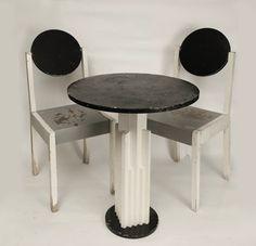 Suprematist table: chair set by Nikolai Suetin,1924.
