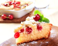 Schwartz recipe for Cherry Slice, ingredients and recipe ideas for Fruit and British cooking. Fruit Recipes, Cake Recipes, Dessert Recipes, Desserts, Cake Stock, Czech Recipes, Sandwich Cake, Baking Tins, Dessert