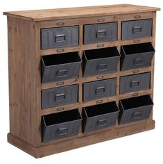 The Rustic Storage Cabinet features 12 drawers which will provide plenty of home or office organizational space.