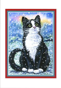 tuxedo cats and sunsets | SIX PACK TUXEDO CAT GLITTERY CHRISTMAS CARDS BY ARTIST ANNE MARSH ART ...