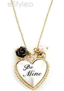Betsey Johnson Necklace Heart Pendant Be Mine Faux Pearl