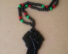 Black Power Fist African Pride Black Panther RBG Handmade Necklace