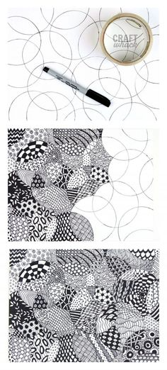 Totally easy Zentangle drawing project - all you need is some thing round, paper, and a pen to get started. Totally easy Zentangle drawing project - all you need is some thing round, paper, and a pen to get started. Doodle Art Drawing, Zentangle Drawings, Drawing With Pen, Easy Mandala Drawing, Doodles Zentangles, Zentangle Pens, Cute Doodle Art, Doodle Paint, Design Art Drawing