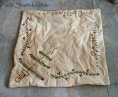 Primitive Christmas Candle Mat Hand Stitched by valleyprimitives, $9.50