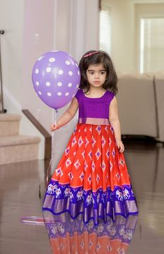 Ikkat pure silk lehenga with blouse. Age - 0 to 3 years at (PID: Ikkat pure silk lehenga with blouse. Age - 0 to 3 years. Baby Girl Birthday Dress, Baby Girl Party Dresses, Dresses Kids Girl, Baby Girl Lehenga, Kids Lehenga, Girls Frock Design, Baby Dress Design, Baby Frocks Designs, Kids Frocks Design