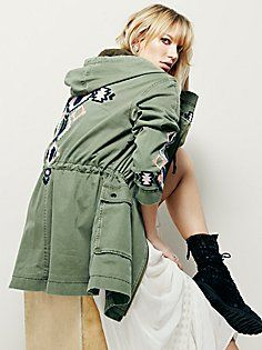 Embroidered Twill Parka
