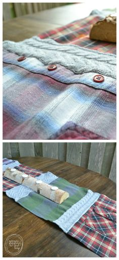 Cozy Table Runner with Old Sweaters and Flannel Shirts - Refresh Living