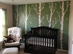 Birch Tree Decal, Reusable, Repositionable White Birch Tree Wall Decals (5 brown birch, no birds)