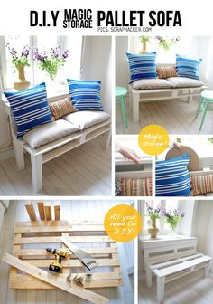 Get inspired by these 21 DIY Pallet Sofa Plans and pallet furniture projects which are sure to make you get with your favorite pallet couch designs built in pallet Diy Pallet Sofa, Diy Pallet Furniture, Diy Pallet Projects, Furniture Projects, Pallet Ideas, Outdoor Pallet, Pallet Storage, Wood Projects, Outdoor Sofa