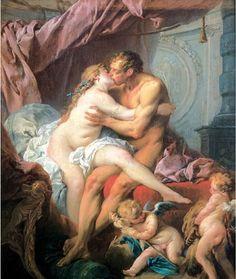 헤라클레스와 옴팔레 - 프랑수아 부셰. 헤라클레스는 친구를 죽인 대가로 3년 동안 리디아의 여왕 옴팔레의 궁전에서 노예살이를 하게 된다. 옴팔레는 헤라클레스에게 반해 자신의 노예와 사랑을 나누게 된다. 작가는 이 작품을 통해 육체적인 감각과 욕망을 예찬하고 있다.
