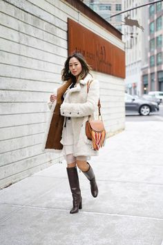 Shearling Coat and Chloe Dress   Song of Style