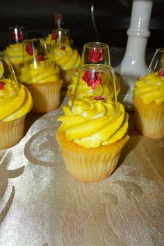Diy beauty and the beast cupcakes. Shot glasses and small cloth roses
