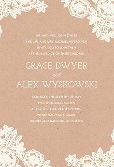 Lace and Kraft Wedding Invitations