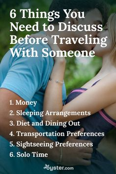 """While traveling with a friend or lover can be a fantastic experience -- allowing you to deepen your connection by sharing new experiences -- it can also be incredibly testing. """"Often one person is looking for excitement and adventure and the other wants peace and quiet,"""" says Roberta Temes, practicing psychotherapist. Here are a few important points to discuss before taking a trip with another person."""