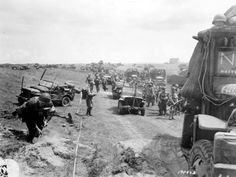 Utah Beach: US troops moving inland after their landing, June 6, 1944.