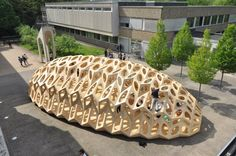 The Bowooss Bionic Inspired Research Pavilion  The School of Architecture at Saarland University in Saarbrücken, Germany, have lead a collaborative research project into bionic inspired wooden shell structures. They have designed and built a temporary pavilion, inspired by the material-efficient construction methods found in nature.