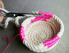 diy rope baskets   DIY Chic: How to Make a Coiled Rope Basket