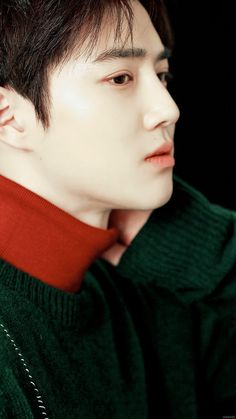 Suho of EXO ❤ He's so gorgeous! He has such flawless pale skin, rosy lips, and dreamy dark eyes!!