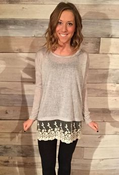Knitted Sweater with Bottom Lace