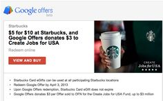 $5 for $10 at Starbucks on Google Offers TODAY. Limited availability.