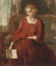 Fernand Toussaint - A Moment of Contemplation (Belgian artist, 1873-1955)