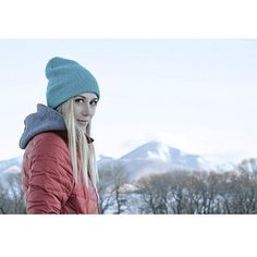 SIGMA #beanie in cement blue shining bright on @thedewolves, our favorite gal in #Montana. #rockdiscrete