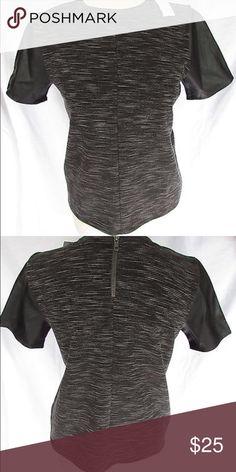 Ann Taylor Loft Leather Sleeved Black knit top with faux leather short sleeves Ann Taylor Tops Tees - Short Sleeve