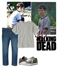"""""""The Walking Dead - First Season - Carl Seeing Rick"""" by firewitch23 ❤ liked on Polyvore featuring Converse, men's fashion and menswear"""