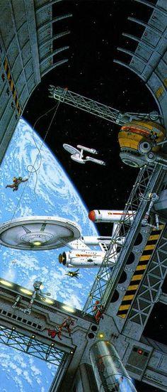Sci-Fi Art — Star Trek art by David Mattingly Star Trek Original, Star Wars, Star Trek Tos, Stargate, Interstellar, Nave Enterprise, Vaisseau Star Trek, Deep Space Nine, 70s Sci Fi Art