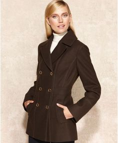 Double-breasted Wool-blend Pea Coat - Lyst