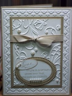Anniversary by Julie Grabowska on December 2011 Elegance with Embossing - Elegant Lines & Framed Tulips Embossing folders Wedding Shower Cards, Wedding Cards, Wedding Anniversary Cards, 40th Anniversary, Engagement Cards, Embossed Cards, Sympathy Cards, Love Cards, Creative Cards