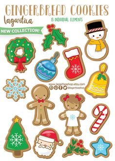 Christmas Gingerbread Man Clipart cookies for invitations, tags, blog, cards, printables, recipe book, candybar decoration