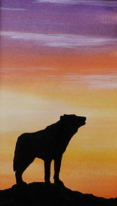 wolf howling sunset silhouette original by MokiTradingPost on Etsy, £6.50