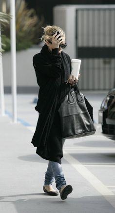 Denim, flats, Givenchy bag.
