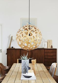 Beautiful sculptural lamp made in bamboo, from Tobecontinued.