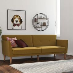 I Set Up My New Apartment in Less Than a Day With These 7 Easy-to-Assemble Furniture Pieces | A sofa is typically the main accent piece that defines a room. My considerations were size, price, ease of assembly, and style, and Novogratz's Regal Futon ticked all of these boxes. The futon was delivered in a compact box and took only 20 minutes to assemble. #decorideas #homedecor #decorinspiration #realsimple #smallspaceideas #apartmentideas Small Space Living, Small Spaces, Living Spaces, Living Rooms, Apartment Living, Apartment Therapy, Studio Apartment, Mid Century Sofa Bed, Sofa Bed Green