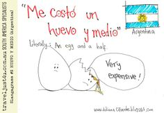 Argentine Spanish Saying: ME COSTÓ UN HUEVO Y MEDIO = Very expensive. #Argentina #Spanish