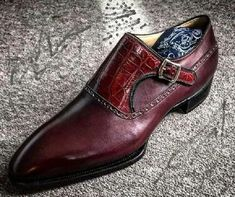 Men's+Handmade+Burgundy+Alligator+Leather+Monk+Strap+Shoes,+Men+Dress+Buckle+Formal+Shoes Description+ Condition+New+With+Box+ Style+Monk+Strap Shoes+Upper+Material+Alligator+Leather+ Handmade+Dress+Shoes+ Stylish+Shoes+ Interior+Soft+Leather+Lining+ Sole Loafer Shoes, Suede Shoes, Women's Shoes, Shoes Men, Shoes Style, Prom Shoes, Dress Shoes, Gentleman Shoes, Style Masculin