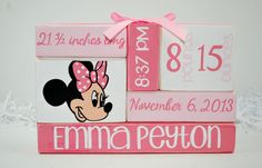 Minnie Mouse Baby Stat Nursery WoodenBlock Stack measures approximately 9 x 6 and is wrapped in a coordinating ribbon! What an amazing way to Minnie Mouse Nursery, Minnie Mouse Pink, Baby Mouse, Girl Nursery, Nursery Decor, Nursery Themes, Little Girl Rooms, Nye, New Baby Products
