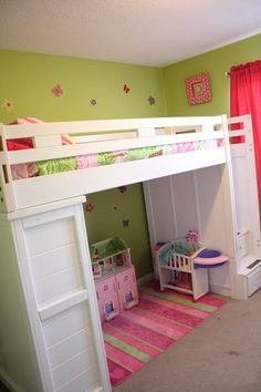 White Wooden Loft Bed With Rectangle White Board Desk And Ladder