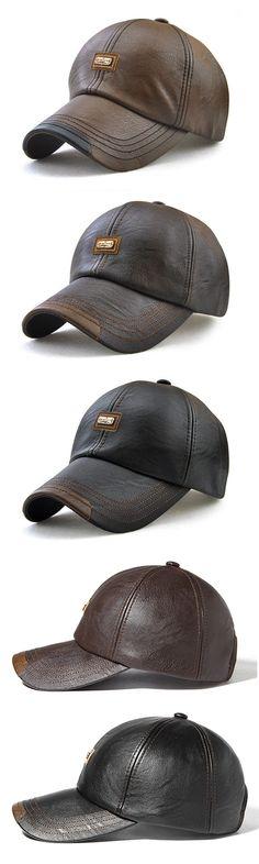 Men Leather Baseball Cap: Windproof